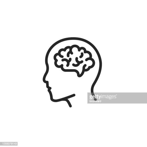 bildbanksillustrationer, clip art samt tecknat material och ikoner med redigerad linje för human hjärnkontur - hjärna
