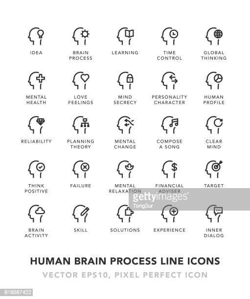 human brain process line icons - mental health stock illustrations, clip art, cartoons, & icons