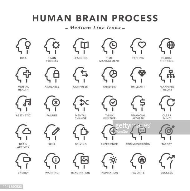 human brain process - medium line icons - confusion stock illustrations, clip art, cartoons, & icons