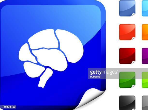 human brain royalty free vector art on blue sticker - temporal lobe stock illustrations, clip art, cartoons, & icons