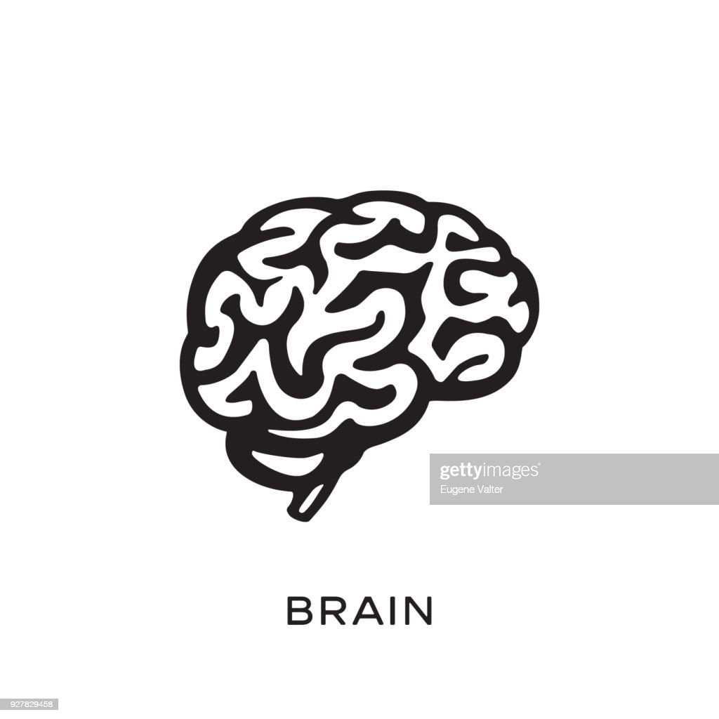 Human brain silhouette design vector illustration. Think idea concept. Brainstorm