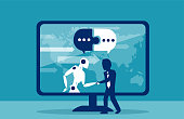 Human businessman cooperation with robot concept