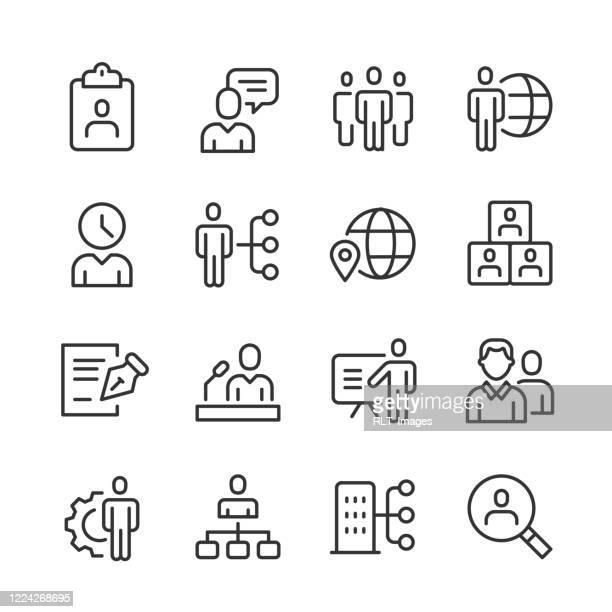 stockillustraties, clipart, cartoons en iconen met human capital icons — monoline series - hiërarchie
