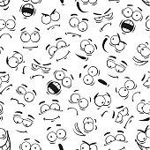 Human cartoon emoticon faces pattern