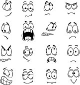 Human cartoon eyes emoticons symbols