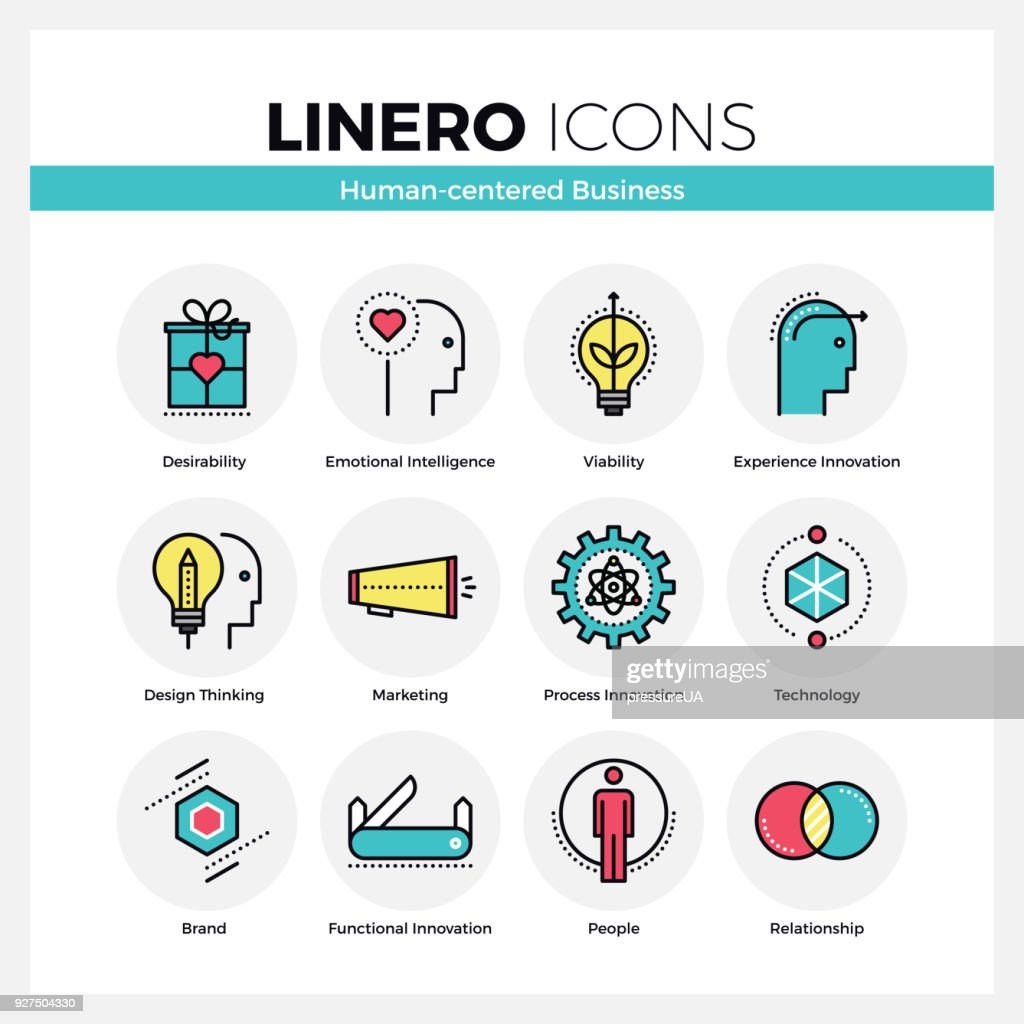 Human Centered Business Linero Icons Set