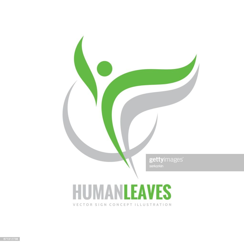 Human character - green leaves - vector logo concept illustration. Health positive symbol. Design element.