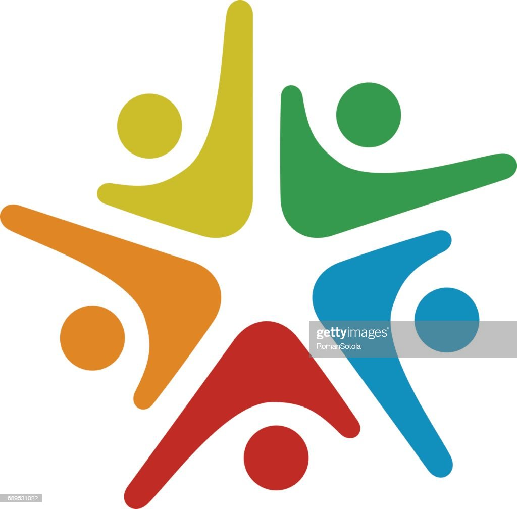 human community five people symbol vector