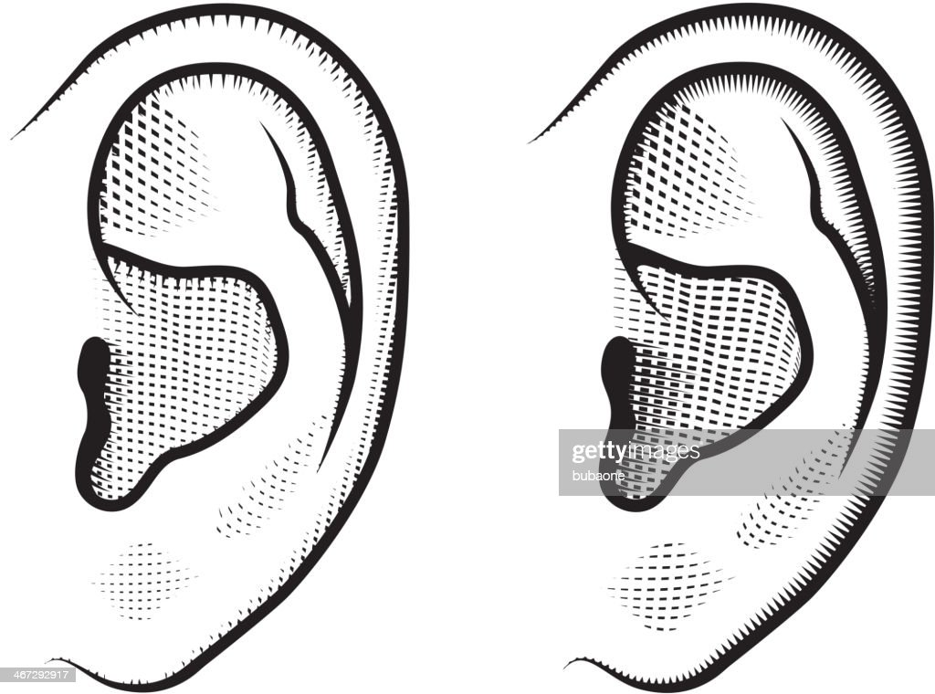 Human Ears Black White Royalty Free Vector Icon Set High-Res