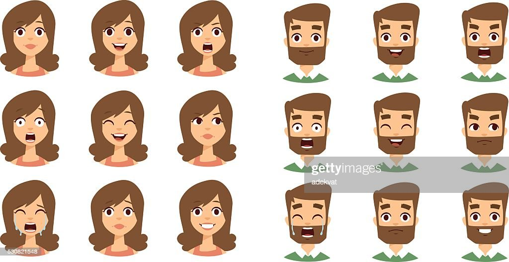 Human emotion face vector set