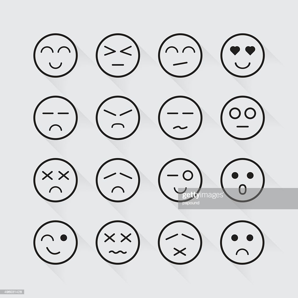 Human emotion icons long shadow set
