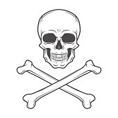 Human evil skull vector. Pirate insignia concept. Poison icon illustration