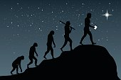 Human evolution into the present - digital world. Business growth.
