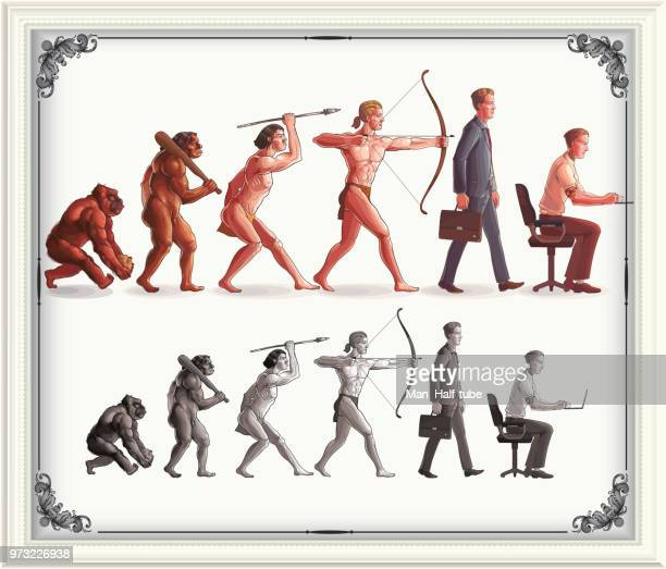 illustrazioni stock, clip art, cartoni animati e icone di tendenza di evoluzione umana - progresso