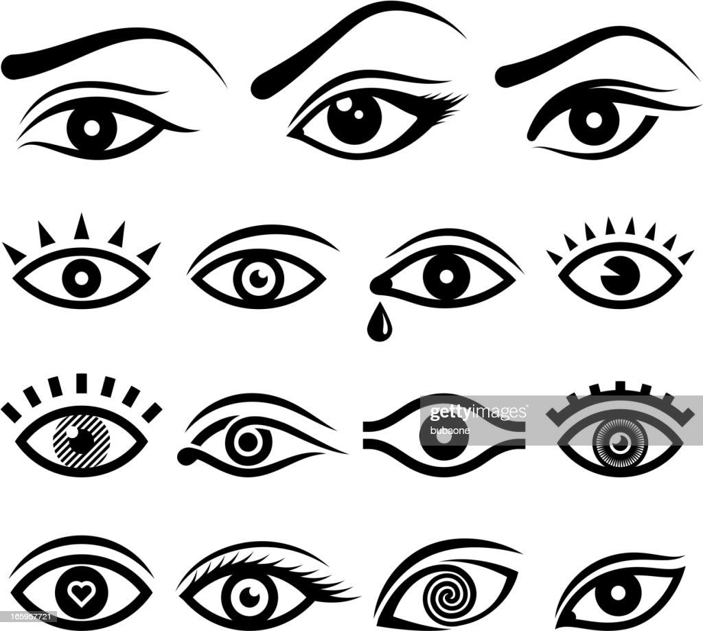Human eye designs and anatomy vector icons : stock illustration