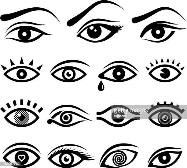 Human eye designs and anatomy vector icons