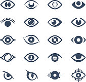Human eye, supervision and view symbols. Looking eyes vector silhouette icons