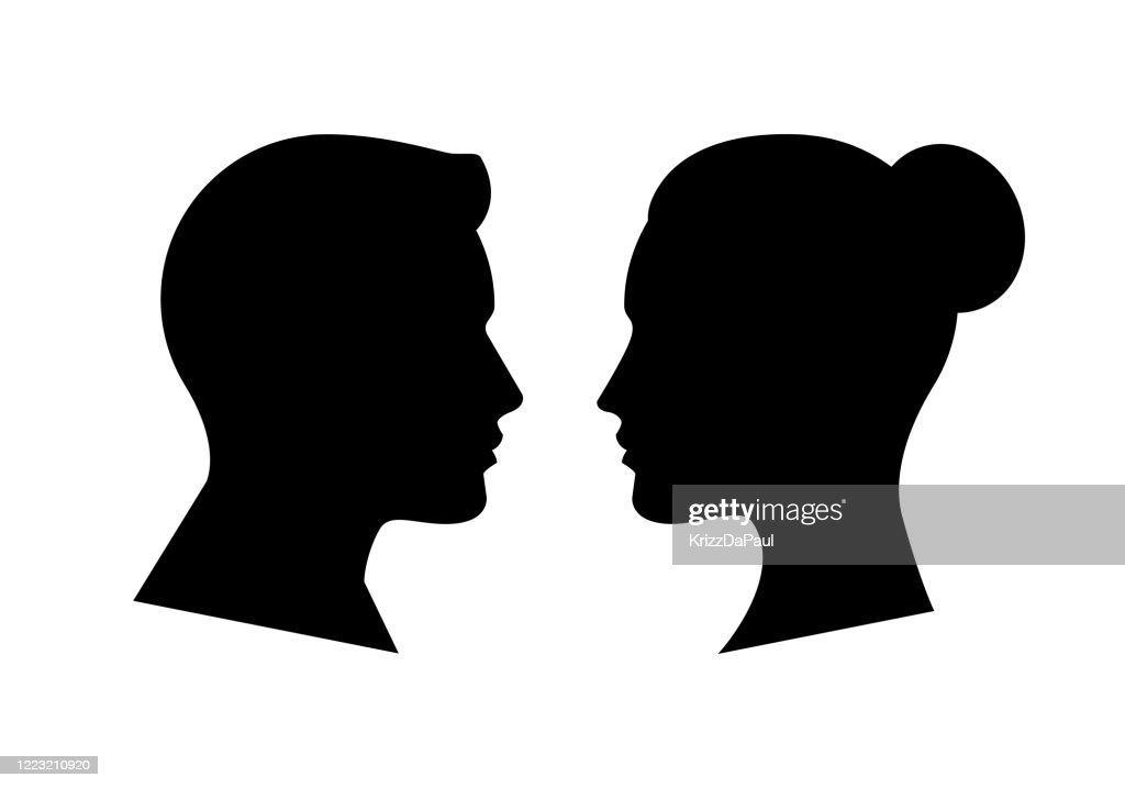 Human Face Side Silhouette : stock illustration