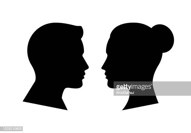 human face side silhouette - human face stock illustrations