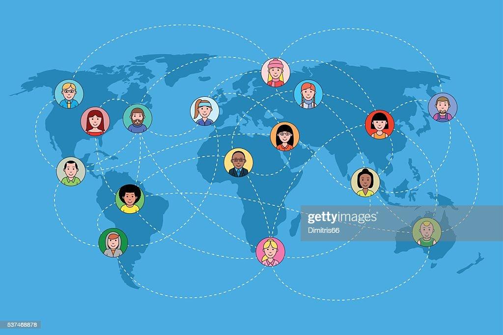 Human faces on a world map network. Social media concept. : Vector Art