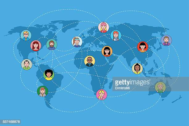 Human faces on a world map network. Social media concept.