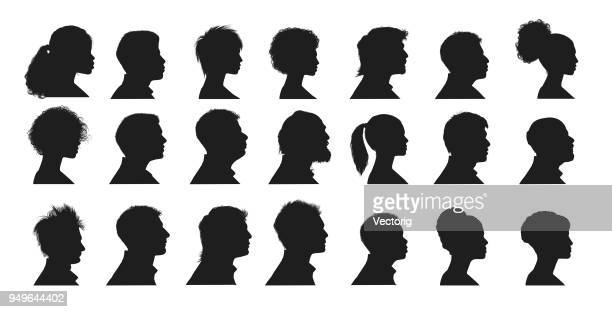 human faces - side view stock illustrations