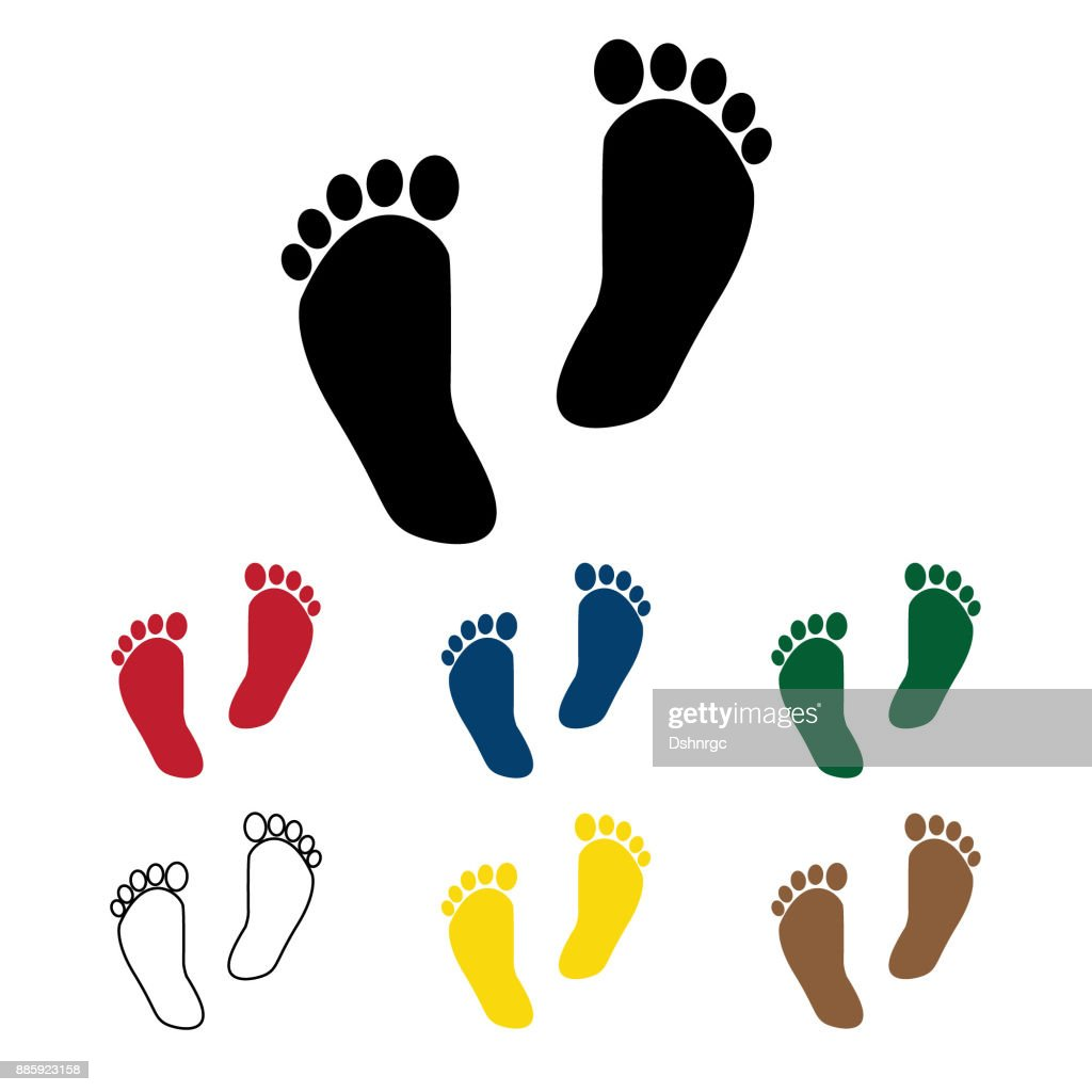 Human feet silhouette vector icon set in color