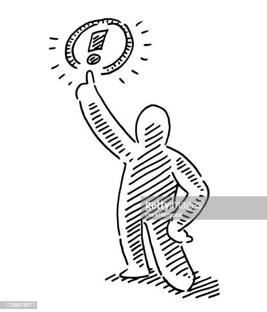 human figure alert gesture exclamation mark drawing - frankramspott stock illustrations