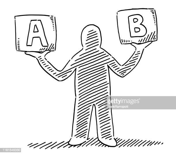 human figure holding box option a or b drawing - letter b stock illustrations