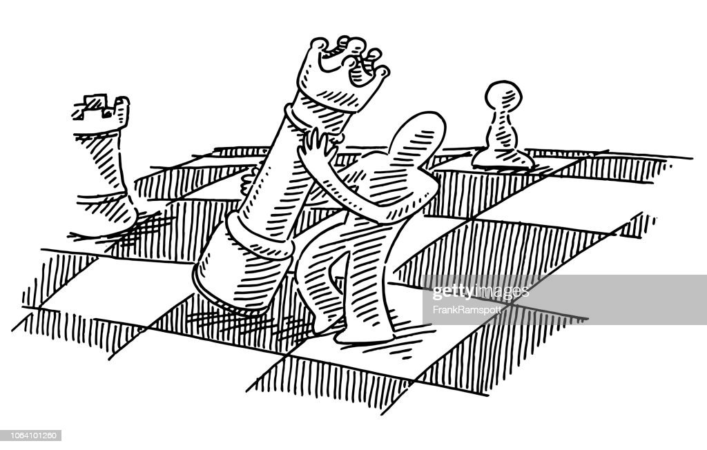 Menschliche Figur halten Schach Königin Zeichnung : Vektorgrafik
