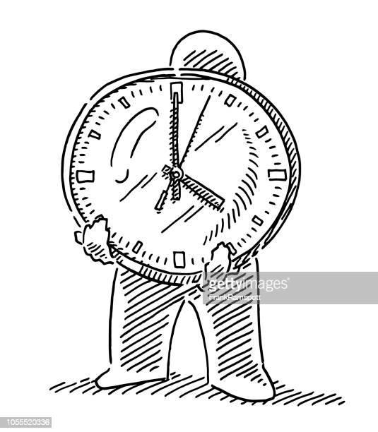Menschliche Figur halten Uhr Zeichnung