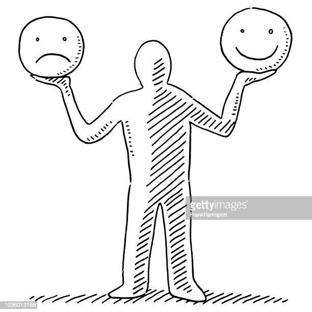 human figure holding happy and sad smiley faces drawing - smiling stock illustrations, clip art, cartoons, & icons