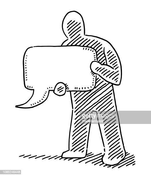Menschliche Figur, Sprechblase Zeichnung zu unterzeichnen