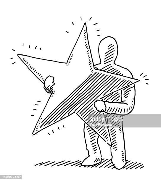 Human Figure Holding Star Drawing
