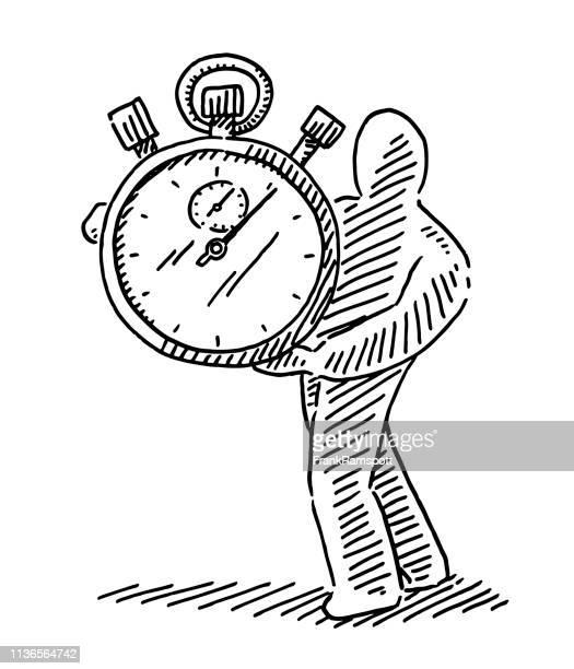 Menschliche Figur Holding Stopwatch Zeichnung