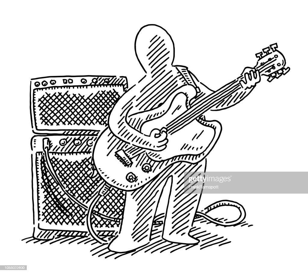 Menschliche Figur Musiker e-Gitarre Spieler Zeichnung : Vektorgrafik