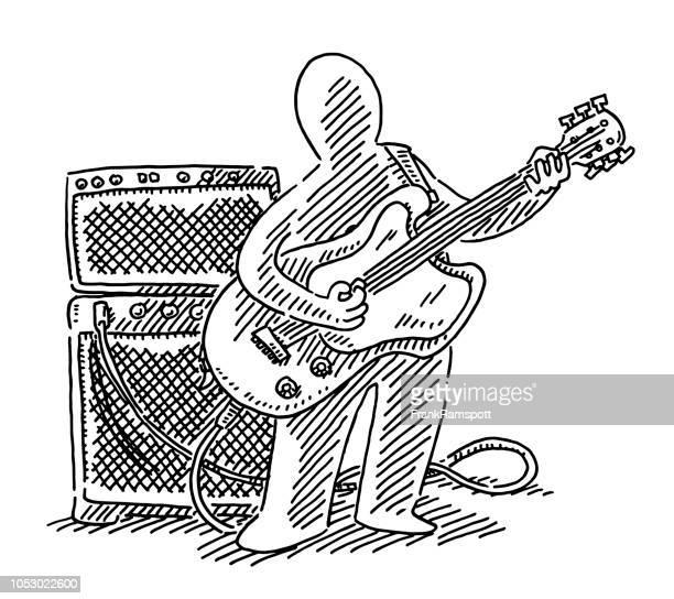 Menschliche Figur Musiker e-Gitarre Spieler Zeichnung