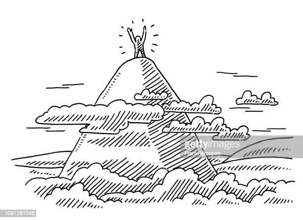 Menschliche Figur auf Berg-Zeichnung