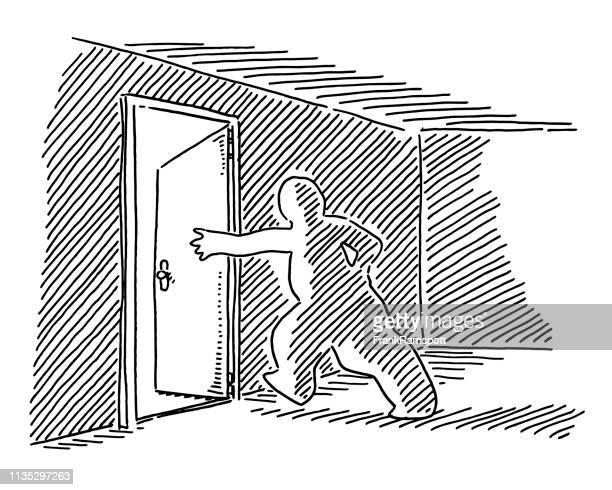 Menschliche Figur Open Exit Door Zeichnung