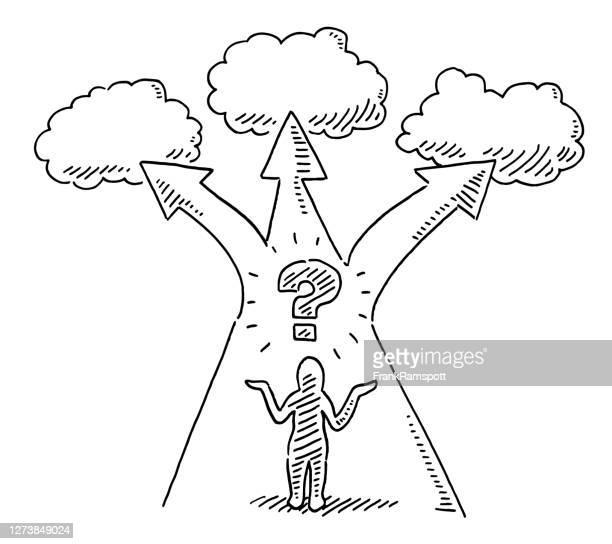 menschliche figur fragezeichen drei optionen zeichnung - vorhersagen stock-grafiken, -clipart, -cartoons und -symbole
