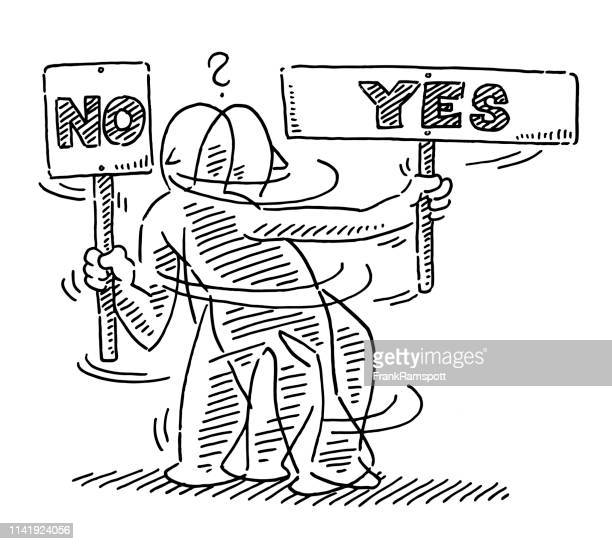 human figure sign yes no uncertainty drawing - ecstatic stock illustrations