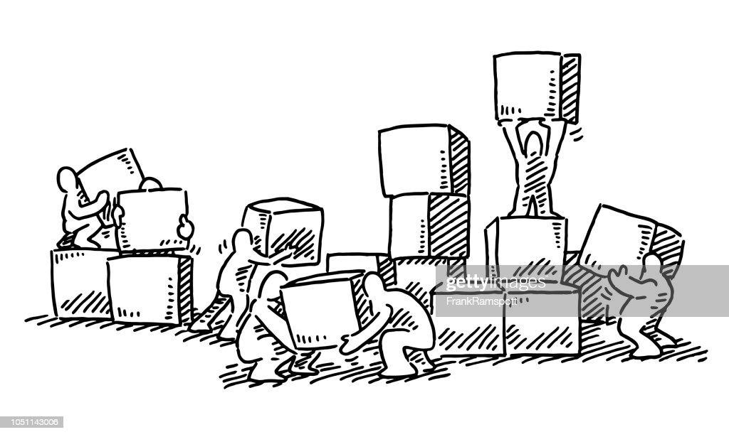 Menschliche Figuren stapelnde Kisten Zeichnung : Stock-Illustration