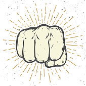Human fist illustration on white background. Vector illustration