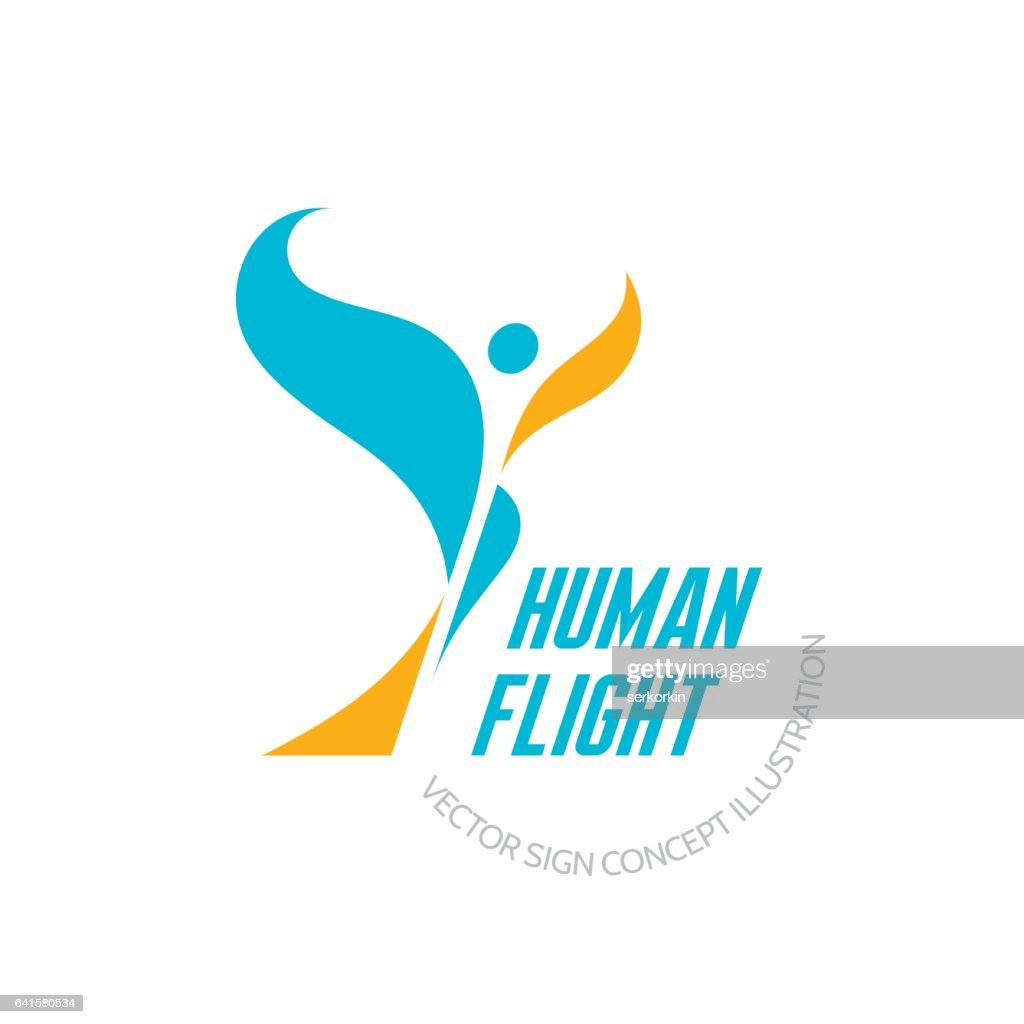 Human flight - vector logo template concept illustration. Abstract butterfly sign.