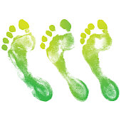 human green footprint set on white