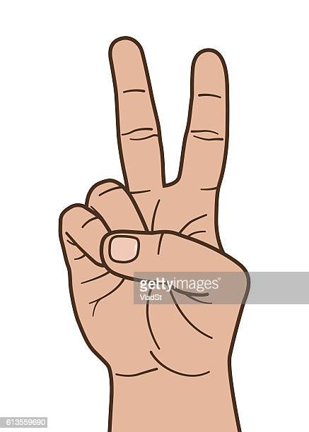 Human hand gesture peace victory sign illustration