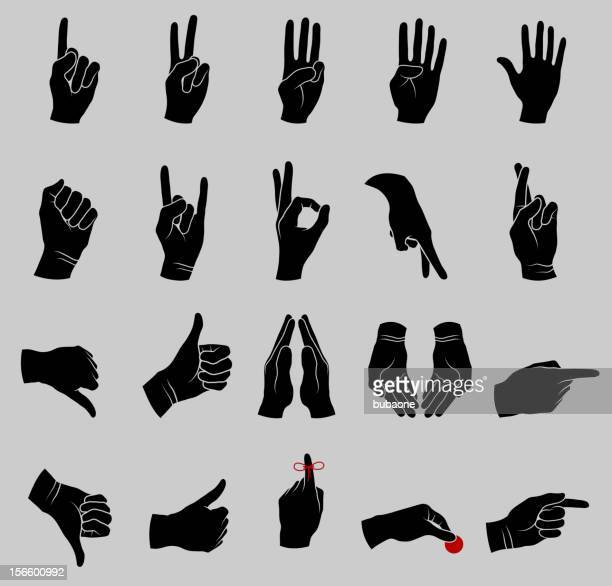 human hand gestures black and white collection - receiving stock illustrations