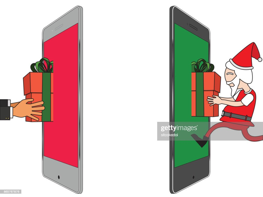 Human hand get a parcel from santa clau