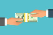Human hand giving money to other hand vector illustration