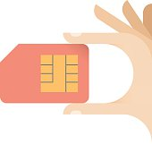 Human hand holding mobile phone sim card - communication concept